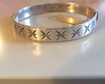 Engraved English star antique sterling silver hinged bracelet
