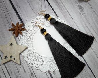 Black Tassel Earrings,  black earrings, Long Tassel Earrings, Luxury Tassel Earring, Silky Tassel Jewelry