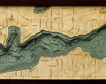 Lake Geneva, WI Wood Carved Topographic Depth Map