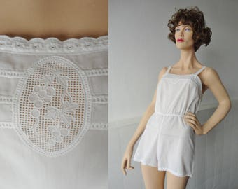 White Vintage Edwardian Romper With Lace
