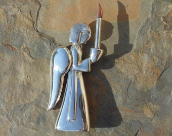 Los Castillo ~ Vintage Taxco Sterling Silver Guardian Angel Carrying a Candle  Pin / Brooch c. 1940's
