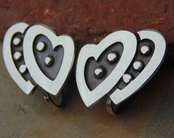 Maricela ~ Vintage Taxco Sterling Silver Conjoined Hearts Screw Back Earrings