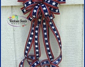 Red White Navy Blue Stars Stripes Bow, Patriotic Bow, 4th of July Bow, Memorial Day Bow, Mail Box, Veterans Day , Lantern Bow, Wreath Bow