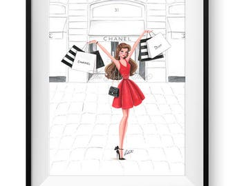 Fashion illustration print, Fashion art, watercolor, girl art, girls room art, vanity art, shopping, shopaholic - Retail Therapy Red