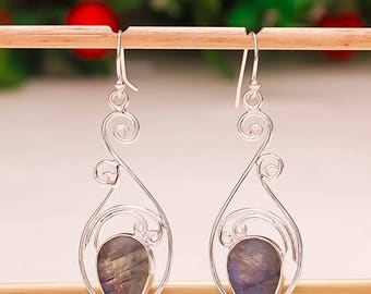 92.5 Sterling Silver Natural Blue Fire Labradorite  Pear Cut Gemstone Earring 2 Inches Long Beautiful Earrings