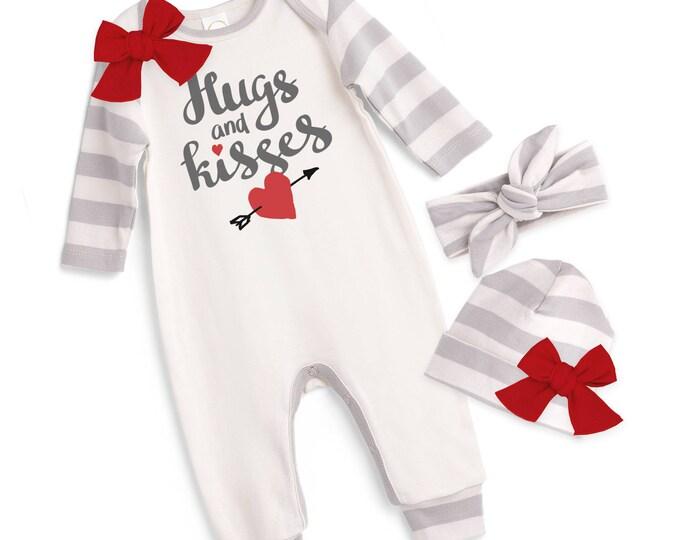 Newborn My First Valentines Romper Gray, Baby Girl Valentine Bodysuit, Infant Girl Valentines Onesie, 1st Valentine Baby Romper, Tesababe