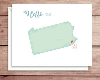Pennsylvania Map Note Cards - Folded Note Cards - Pennsylvania Stationery - Map Thank You Notes - State Map Note Cards