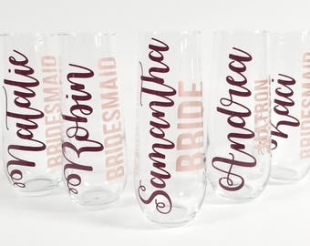 Bridesmaid Champagne Glasses, Champagne Flutes, Bridesmaid Gift, Bridesmaid Glasses, Stemless Champagne Flutes