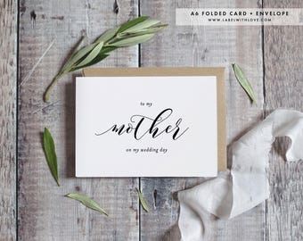 To my Mother on my Wedding Day, Wedding Day Card, Mom Wedding Cards, Mom Mother of the Bride Card, Gifts to Parents Thank You Card, AW1