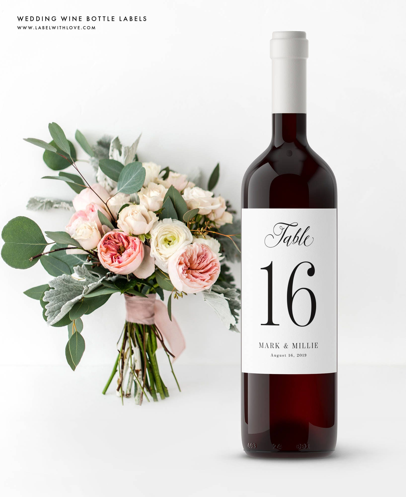 Wedding Wine Table Numbers - Wine Bottle Labels - Self Adhesive ...