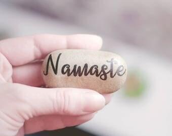 Namaste Decor - Namaste Art - Meditation - Yoga decor - Meditation Table - Yoga Gifts - Zen Decor - Zen Garden - Namaste Meditation Stone