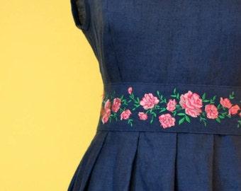 Linen maxi dress with emrodered  belt