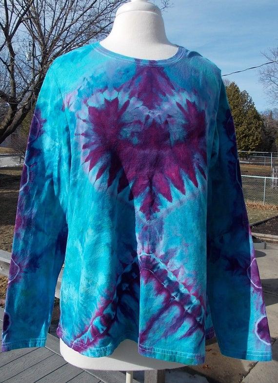 tie dye, ice dyed shirt, ladies XXL tie dye shirt, tie dye mandala, ice dyed mandala, ladies long sleeve cotton tee, ladies tee shirt