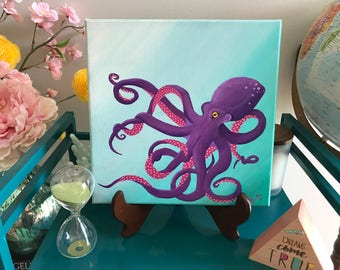 Purple and Pink Octopus Painting