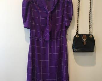 Checkered bow tie neck dress
