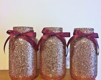 Mason Jar, Rose Gold, baby shower ideas, baby shower decorations, wedding, wedding decorations, wedding centerpieces, party supplies, decor