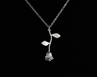 Silver Rose Pendant - Stainless Steel Tarnish Resistant Necklace Silver Plated
