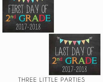 Girl or Boy First Day of School Sign, First Grade 8x10 INSTANT DOWNLOAD, Last Day 1st Grade Printable Sign, Back to School Chalkboard Sign