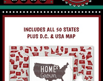 Home Grown USA Map + 50 States + DC | Cutting Files | svg | eps | dxf | png | Roots | Family | American Pride | United States | USA