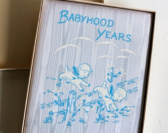 Baby Keepsake Book, Babyhood Years, Blue Moire Cover with Lambs, Designed by Louise Rumely, New Vintage, Unused