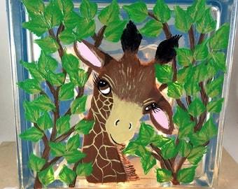 Giraffe night light, Glass block lamp, Painted glass Block, Giraffe Lover Gifts, Night light, Giraffes, Home Decor, Kids room Decor, Gifts