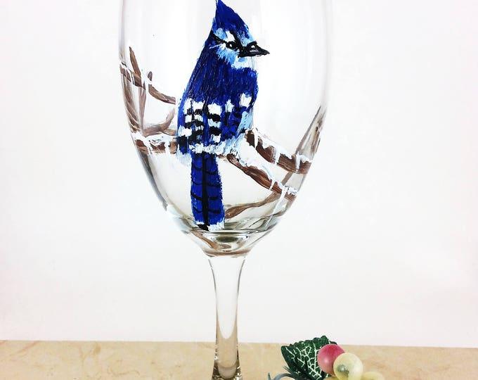 Wine glass, custom wine glasses, Blue Jays, hand painted Blue Jay wine glasses, glassware, personalized wine glasses, Gift under 25