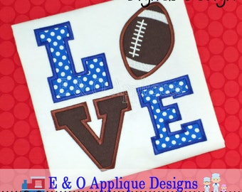 Football Applique Design - Love Football Applique Design - Football Embroidery Design - Sports Applique - Sports Embroidery - Digital Design