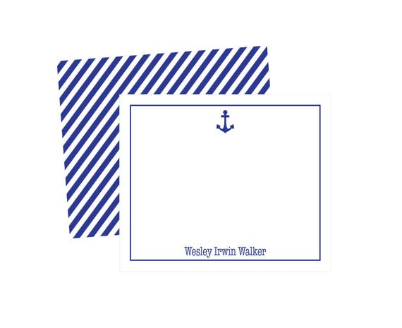 boys stationery anchor stationery baby stationery stripe stationery set personalized notecards flat notecard blue and white stripes