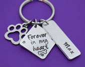 dog memorial gift, dog memorial keychain, pet loss, sympathy gift, loss of pet, memorial, remembrance, forever in my heart dog, Personalized