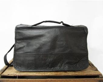 Vintage Black Supple Leather Multipocket Messenger Laptop Organizer Work Bag
