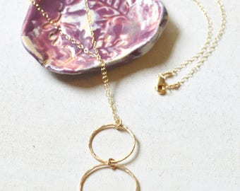 Double circle necklace gold, Gold hoop necklace, Two circle necklace, Double hoop necklace