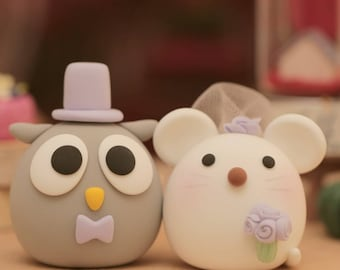 owl and mouse, mice wedding cake topper