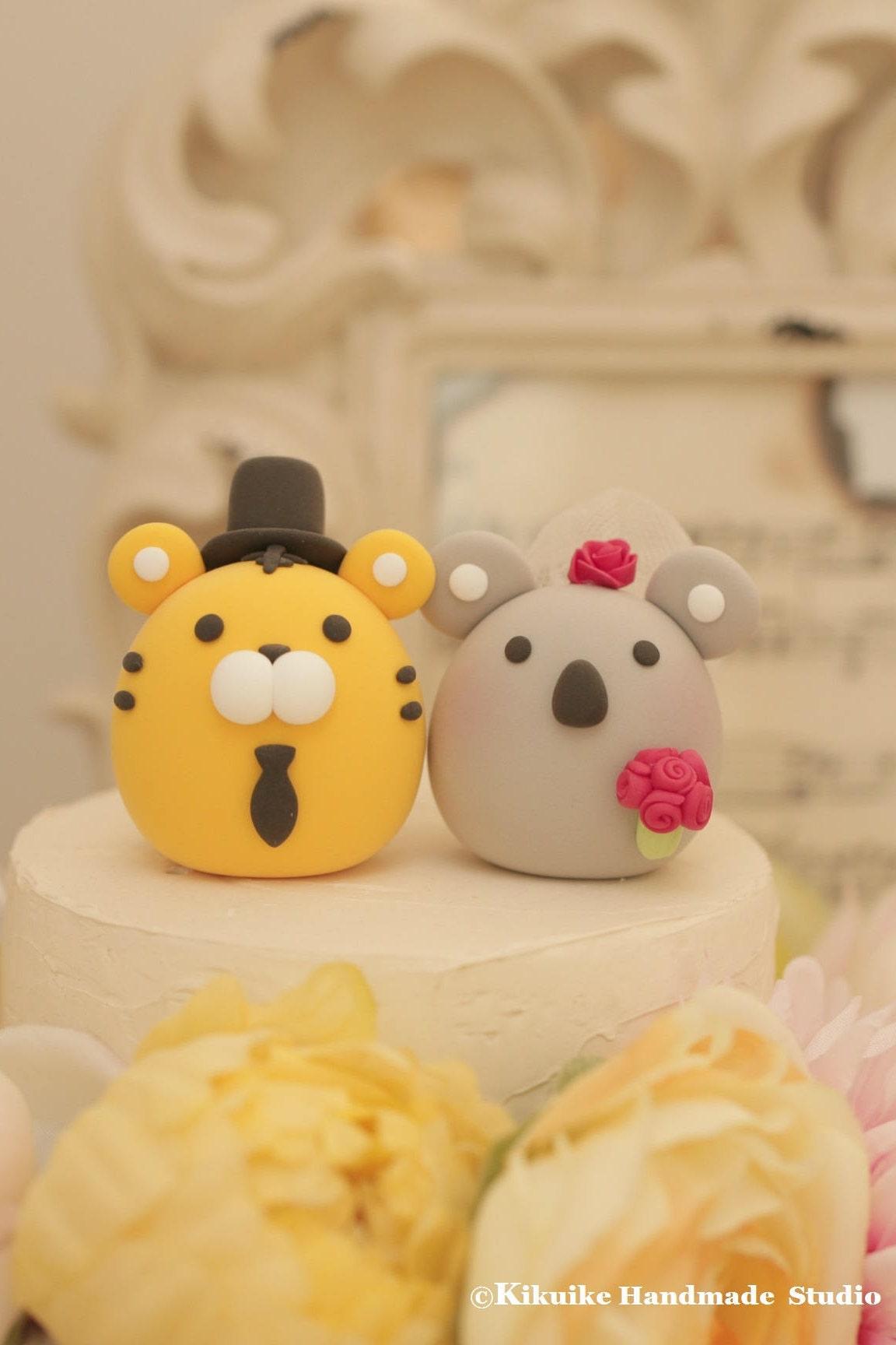tiger and koala wedding cake topper [E10261624442508539M] - $43.99 ...