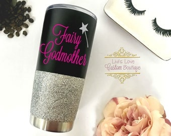 Godmother Gift - Fairy Godmother Mug - Stainless Steel travel mug - Godmother Coffee Cups - Gift for Godmother - God Mother glitter cups