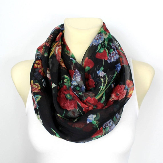 Silk Infinity Scarf Floral Silk Scarf Boho Infinity Scarf Light Scarf Gift for wife Mothers Day from Husband Daughter Summer Outdoors Party