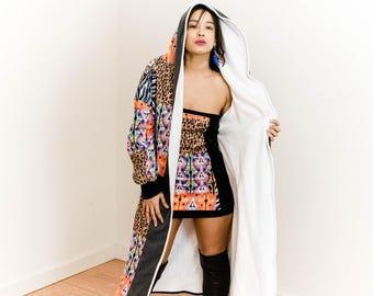 Jacket,Cardigan,Hoody,Hoodie,Top,Shirt,Outerwear,Handmade,Fleece,Long sleeve,Robe,Lounge,fleece,elven,animal print,aztec,tribal,Queen