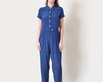 French Blue Silk Jumpsuit Vintage Romper Playsuit Onesie M