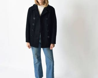 Black Wool Pea Coat Vintage US Naval Insulated Jacket XS S