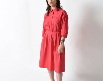 1980s Pink Shirtwaist Dress 80s Vintage Cotton Dress 33 L XL