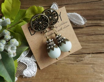 """Boho Chic """"Hint of Mint"""" Stud Earrings, Victorian Agate Crystal Rustic Beaded Tender Statement Earrings Jewelry, Womens Mother Sister Gift"""