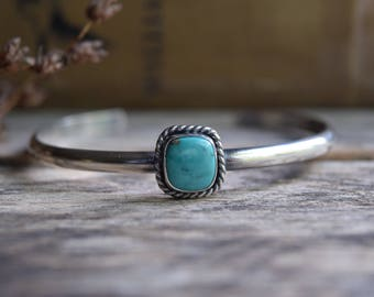 Turquoise Cuff Bracelet Real Turquoise Jewelry Small Turquoise Bracelet Metalsmith Jewelry Gift for Her