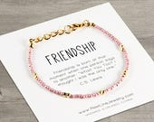 Christmas Gift, Friendship Boho Bracelet, holiday gifts, stocking stuffer, gift for her, best friends gift, pink blush bracelets, gift guide