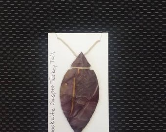 11 This Beautiful Handcrafted knapped, Mookaite JasperTurkey Tail Point necklace . Would make a great gift or to keep.