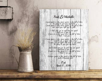 Rustic Wedding Vow Song Art Wedding Vow Art Song Lyric Art Wedding Vows Print 1st Anniversary Gift Personalized Wedding Gifts - 50077C