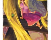 RAPUNZEL and PASCAL from Disney TANGLED Premium Art Print with Embellishments