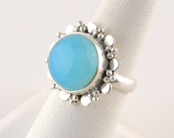 Size 7 Sterling Silver And Aqua Blue Chalcedony Ring