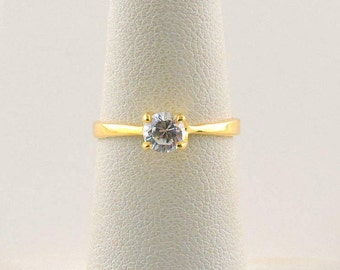 Size 5 18k Gold Plated .25ct Round Cubic Zirconia Ring