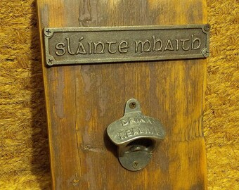"The ""Slainte Mhaith"" & Drink Real Ale Vintage Cast Iron Bottle opener Plaque"