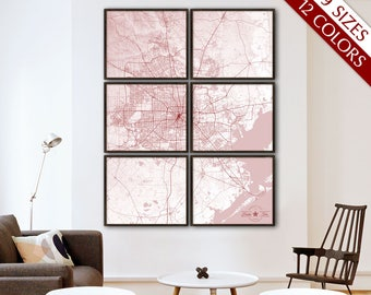 "Houston map, Map of Houston TX, 12 colors, 9 sizes up to 72x90"" Large Houston art map in 1 piece or in 6 parts - Limited Edition of 100"