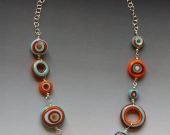 Tribal Necklace Red & Turquoise: handmade glass lampwork beads with sterling silver components